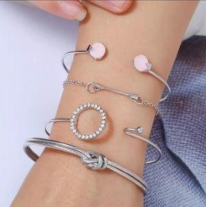Silver Multilayer Arrow/Knot 4 Pc Bracelet Set
